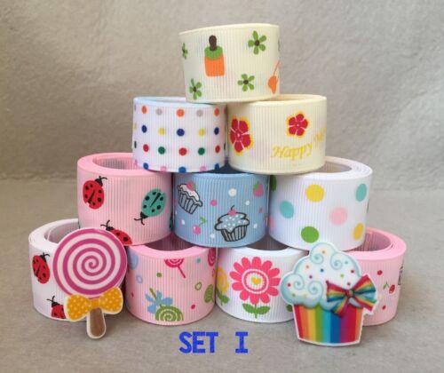 """10YDs Mixed 7//8/""""/&1/""""Grosgrain Ribbon Bow Cupcake Lollipop Sunflower Scrapbook Lot"""