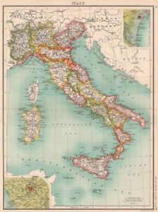 Show A Map Of Italy.Details About Italy Showing Regions Railways Inset Venice Rome Bartholomew 1901 Map