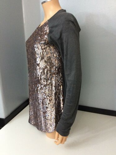 100 38 Sequin Size Front Grey Jordan Top Women's Silk Jumper 10 Uk Zoe 8xwztBEF
