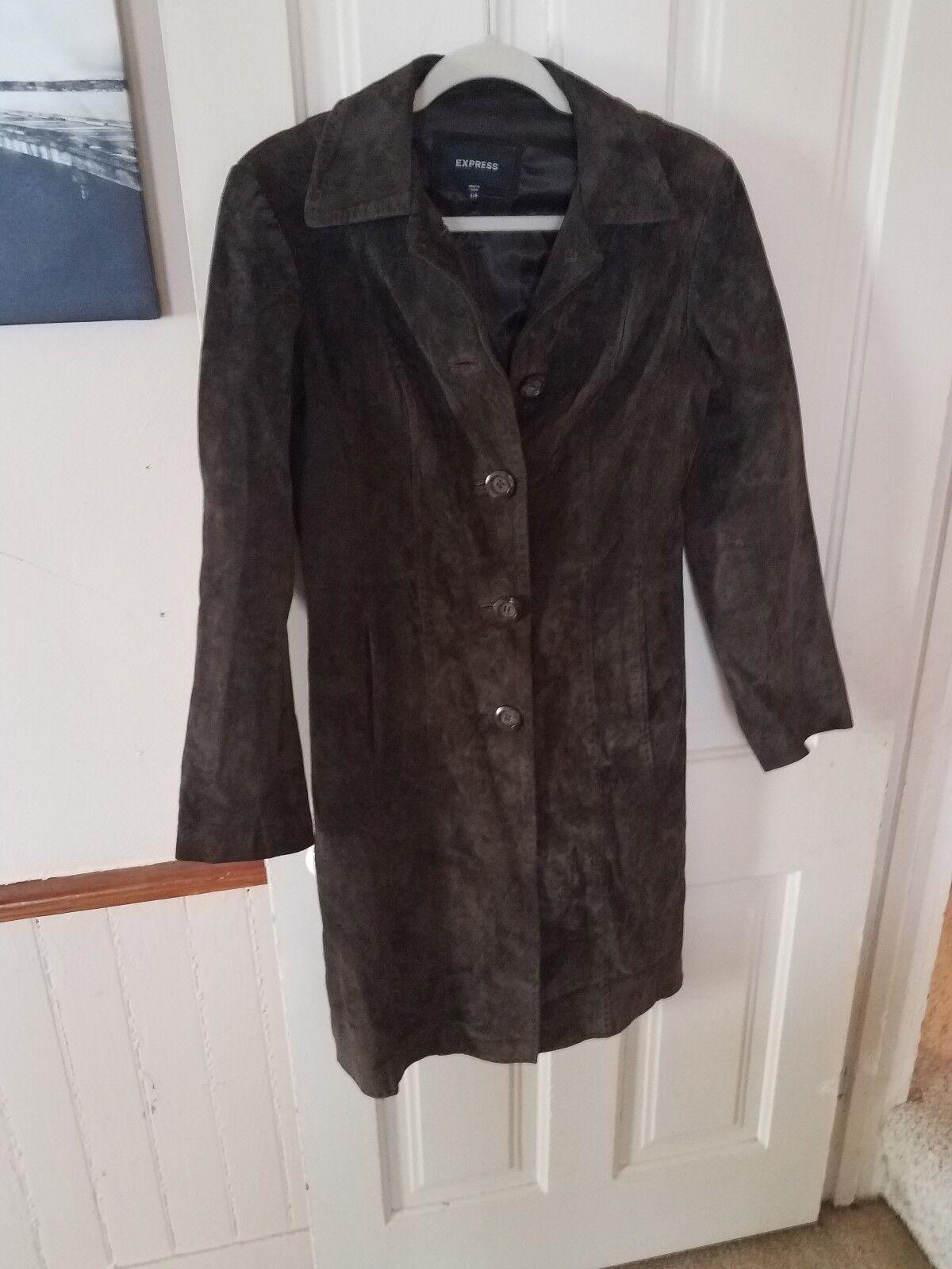 Vintage Express long brown suede coat 5 5 5 6 excellent condition 0c75ec