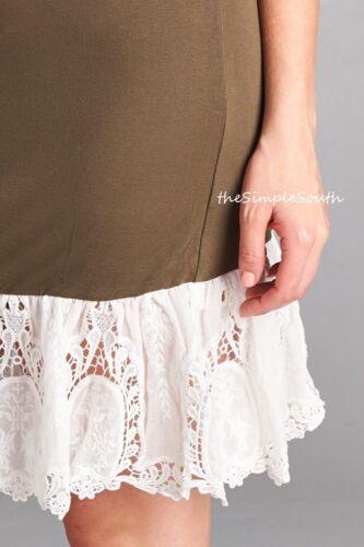 New ODDI Long Eyelet Lace Extender Knit Tank Top Cami Dress Slip Liner Chemise