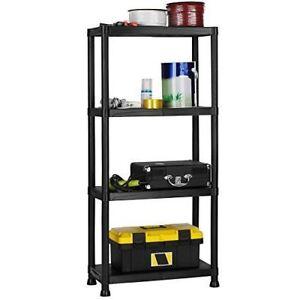 New-4-Tier-Black-Plastic-Shelf-Racking-Shelving-Shelves-Rack-Storage-Unit
