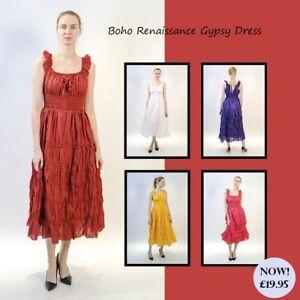a255e0e8c0 Details about Women's Boho Renaissance Gypsy 100% Cotton Smocked Peasant  Mid Length Dress