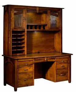 Amish Transitional Computer Desk Hutch Kensing Solid Wood Office