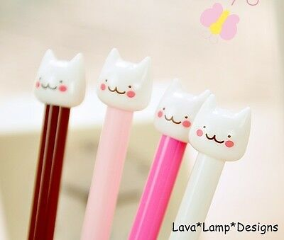 Kawaii Kitsch Kitty Cat Head Gel Pen Cartoon Korean Pink, White, Brown - Cute!!