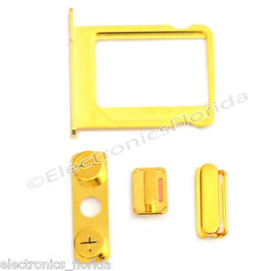 Lock-Key-Side-Volume-Mute-Switch-Power-Button-Buttons-Set-for-iPhone-4-Gold-b81