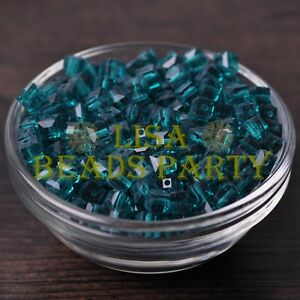 25pcs-6mm-Cube-Square-Faceted-Crystal-Glass-Loose-Spacer-Beads-Peacock-Blue