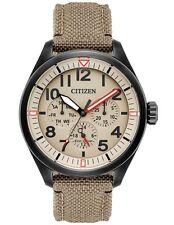 Citizen BU2055-08X Mens Eco-Drive Tan Nylon Chronograph Day/Date Watch