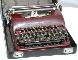 Vintage Smith & Corona Flat Top Portable Typewriter 1930s Maroon Burgundy Red