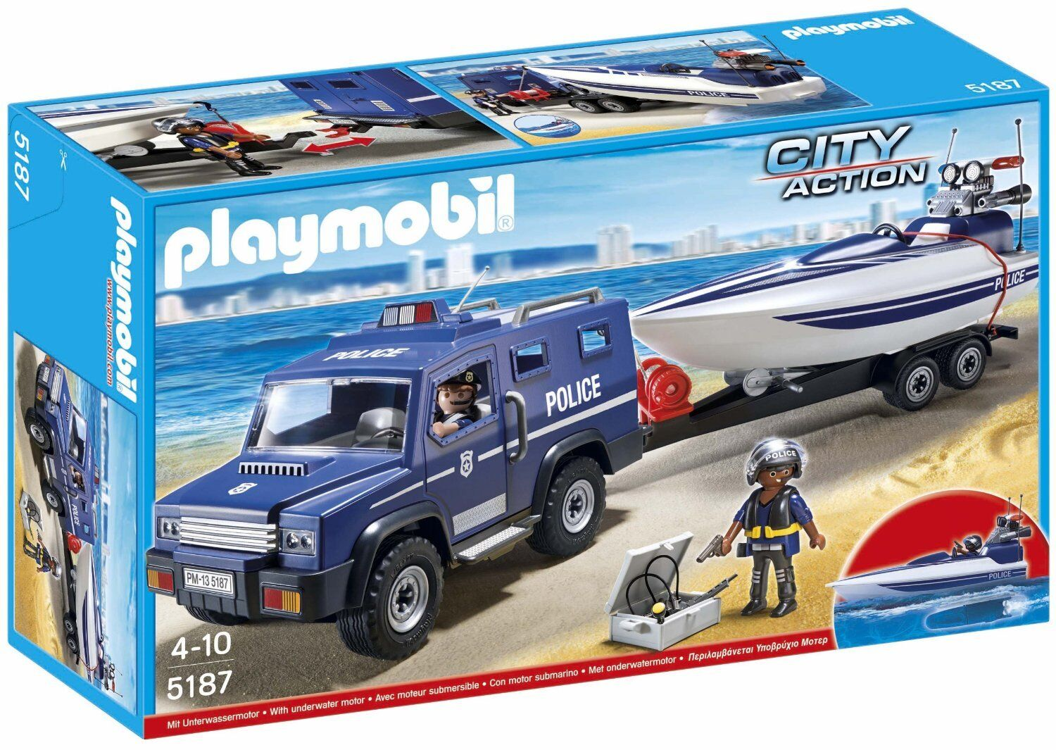 Playmobil City Action 5187 Coche de Policía con Lancha - New and sealed