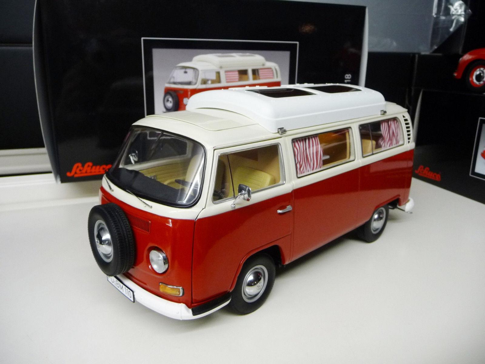 1:18 Schuco VW VOLKSWAGEN T2 Camper Autobús Rojo Blanco Nuevo 1:18 Envío Gratuito
