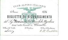 Biglietto Riconoscimento Club Alpino Italiano 1886 Autografo Presidente P. Lioy
