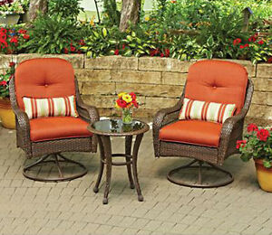 Outdoor Bistro Set 3 Pc Wicker Glass Table Patio Deck Furniture Chairs Cushio