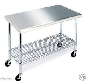 Details about Rolling Stainless Steel Top Kitchen Work Table Cart + Casters  Shelving 24\