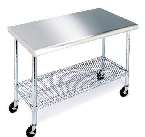 Rolling Stainless Steel Top Kitchen Work Table Cart Casters Shelving 24