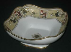 Antique-Vintage-RC-Nippon-8-1-2-034-Square-Serving-Bowl-Gold-Trim-Hand-Painted