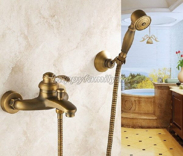 Support mural bain douche robinet en laiton antique Tub Filler Faucet & douche à main ytf028