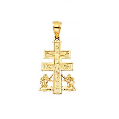 Solid 14K White Gold Simple Cross Jesus Crucifix Charm Pendant