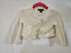 Girls Baby Gap Ivory Cardigan Sweater Size 12-18 Months