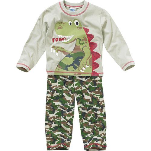 Boys Bedlam Dinosaur Roar Cotton Printed Pyjamas Set Green Blue Camo 2-6yrs