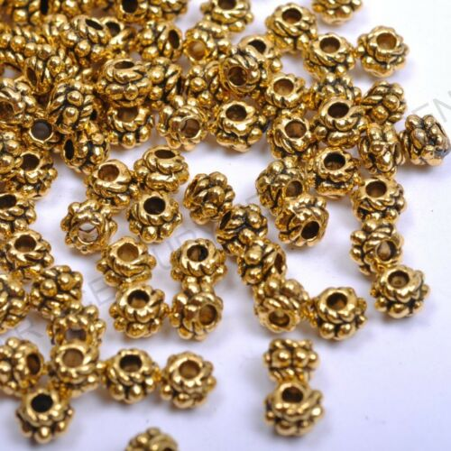 100pcs Tibetan Silver Gold Bronze Spacer Charms Beads 4MM NP1028