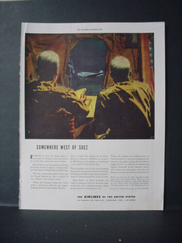 1943 Airlines of the United States WW2 War Ad West of Suez VTG Print Ad 10918