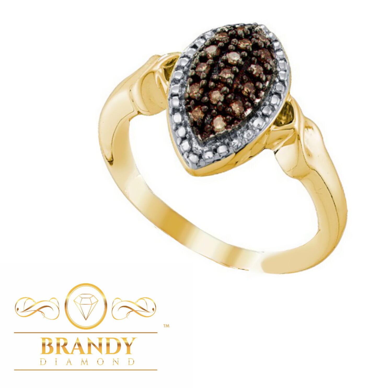Brandy Diamond® Chocolate Brown 10K Yellow gold Elegant Marquise Ring .25Ct