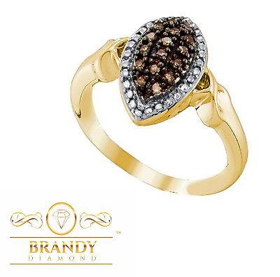 Brandy Diamond® Chocolate Brown 10K Gold Stunning Vibrant Crossover Ring .27 Ct