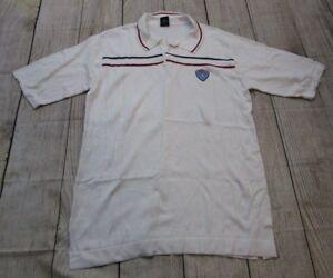RARE-VTG-Air-Jordan-Jumpman-Striped-White-Red-Blue-Knit-Polo-Golf-Shirt-sz-Large