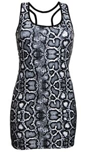 Women-039-s-Classic-Monochrome-Snake-Skin-All-Over-Print-Long-Vest-Top-Fashion-Trend