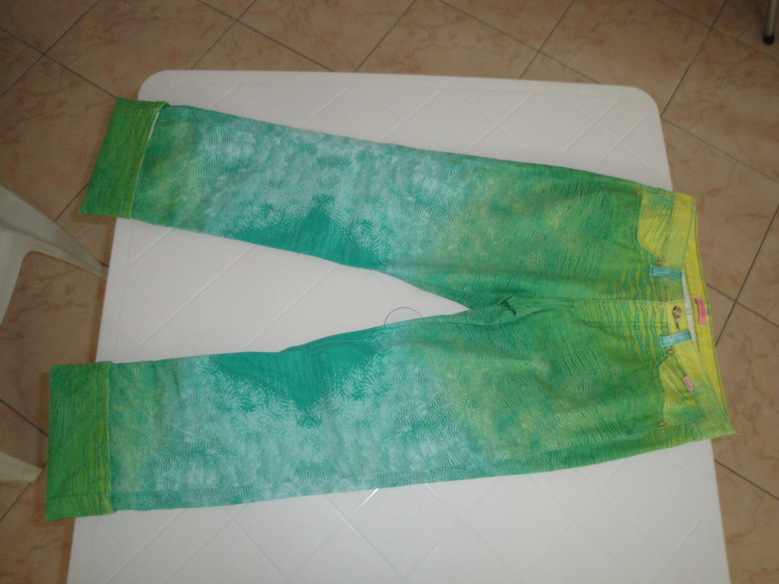 ROBERTO CAVALLI jeans Tg 40 , green E yellow, vita medio-alta