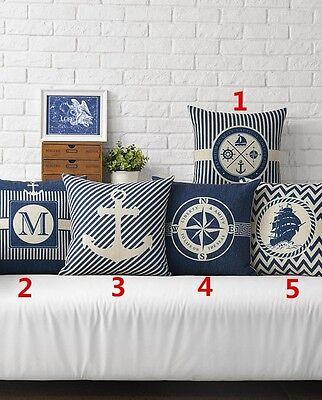 18' Mediterranean Style Linen Blend Throw Pillow Case Car Sofa Cushion Cover