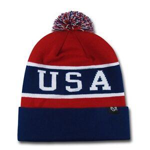 0484f01e8688f0 1 Dozen USA Flag America Beanies Pom Knit Watch Hats Caps Winter ...