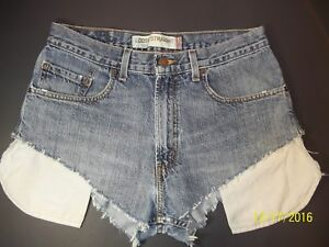 Levi-039-s-569-Loose-Straight-Womens-31-034-Blue-Distressed-Frayed-Cheeky-Jean-Shorts