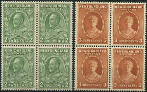 Mint-H-NH-Canada-Newfoundland-1932-37-Block-4-2c-3c-F-VF-Scott-186-187-Stamps