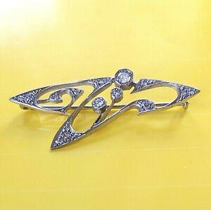 NEU-Antik-Stil-Jugendstil-Brosche-Echt-585-Weissgold-und-Originale-Diamanten