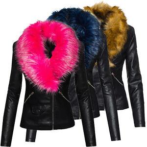 Elegante-senora-piel-sintetica-chaqueta-Biker-chaqueta-XXL-fell-cuello-de-transicion-chaqueta-d-221