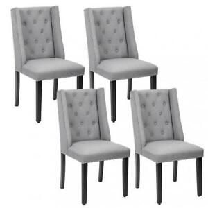 Image Is Loading Set Of 4 Grey Elegant Dining Side Chairs