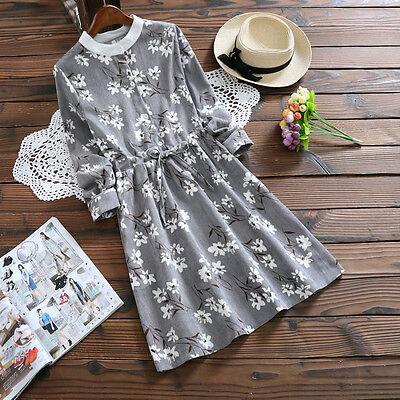 Japanese Mori Girl Preppy Style Stripe corduroy printing Long sleeve Loose Dress