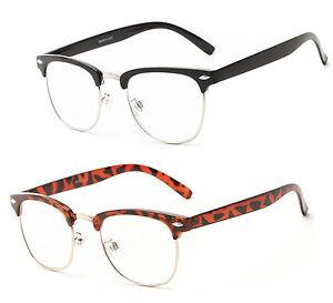 Horned-Rim-Clubmaster-Full-Clear-Lens-Reader-Reading-Glasses-Black-or-Tortoise