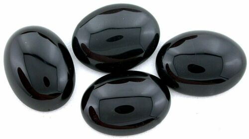 TWO  20x15 20mm x 15mm Black Onyx Cab Cabochon Gem Stone Gemstone CM79