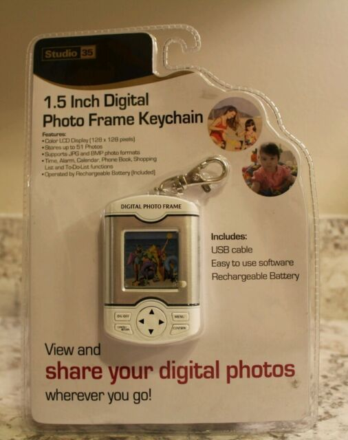 Studio 35 Digital Photo Frame Keychain Rechargeable Battery & Cable ...