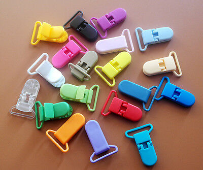 20pcs Plastic Pacifier Clips Soother Dummy Bib Suspender Toy Holder Clip