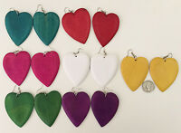 Heart Dangling Natural Wood Earrings W Stained Color