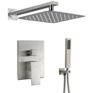 Shower Faucet System Set Brushed Nickel 12 Inch Rainfall Shower Head