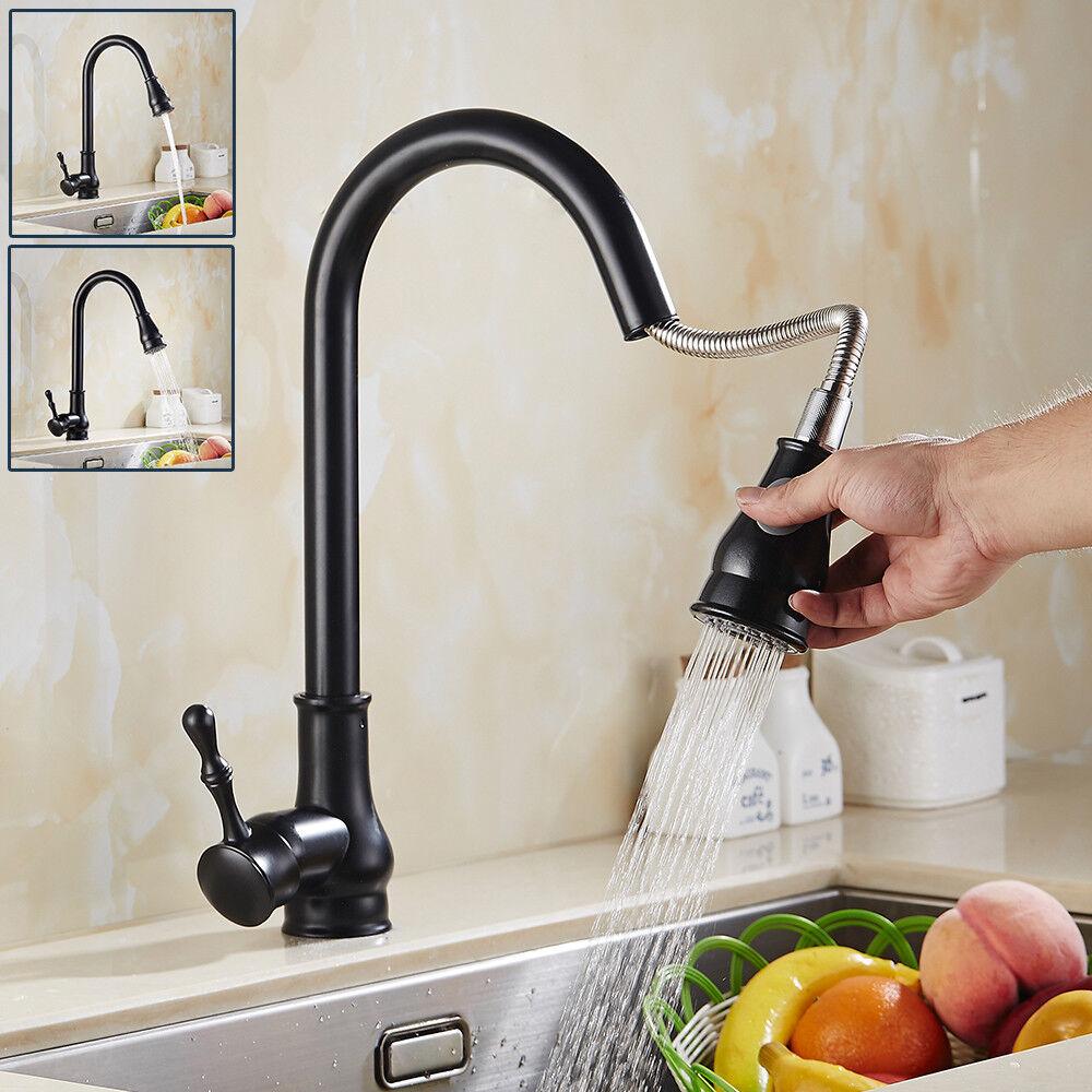 Retro Küchenarmatur Wasserhahn Ausziehbar Einhandmischer  Mischbatterie 360°