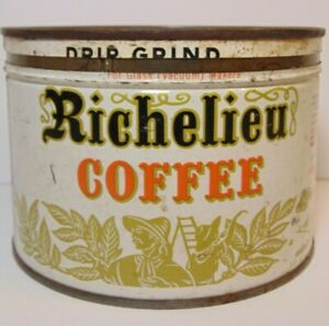 1950s-Richelieu-Coffee-GRAPHIC-KEYWIND-COFFEE-TIN-1-POUND-SPRAGUE-WARNER-CHICAGO