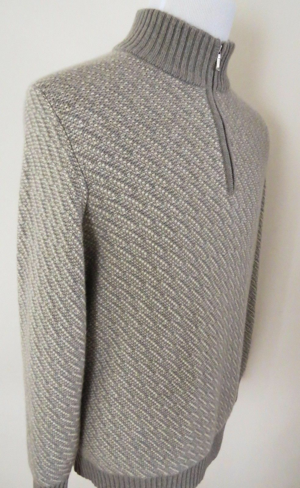 2395 LORO PIANA Mezzocollo Heavy Baby Cashmere Suede Suede Suede 1/2 Zip Sweater 58 Euro 9af4d2