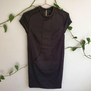 Scanlan-Theodore-Black-Front-Pocket-Stretch-Viscose-S-M-Pencil-Dress-Work