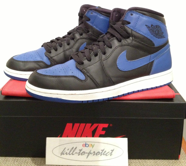 (utilizzato) Nike Blu Jordan 1 OG Royal Blu Nike Nero UK US9.5 UK8.5 legittimi 555088-085 2013 032135